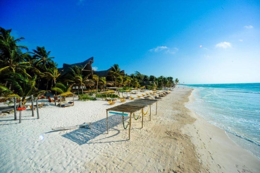 ahau beach in tulum aerial view