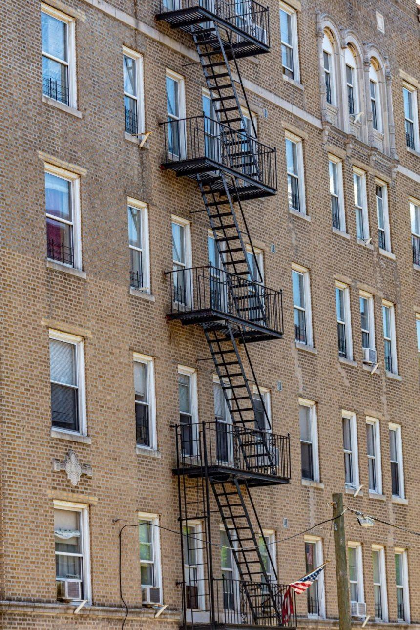 external stairs of a brown bricks building