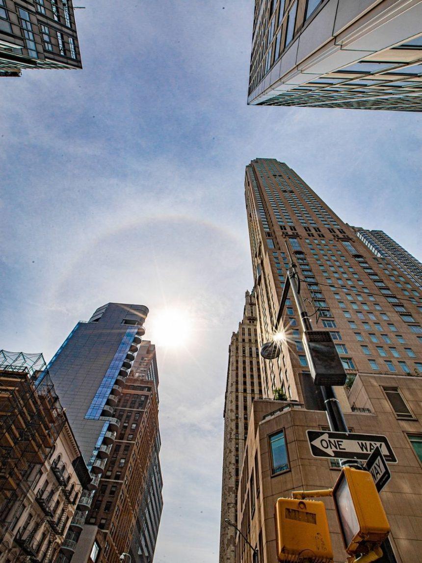 Tall buildings and circle rainbow