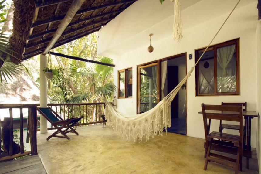 Hotel balcony with hammock
