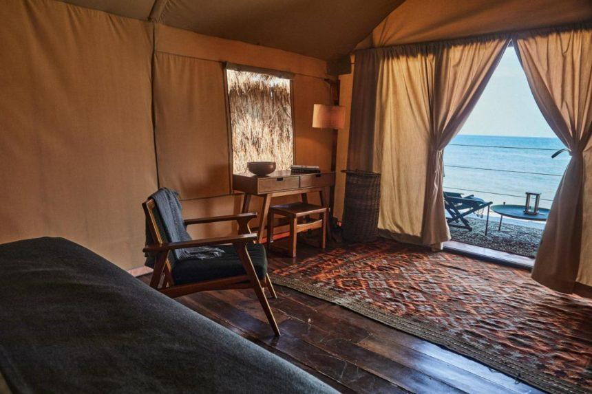 hotel tent with sea view