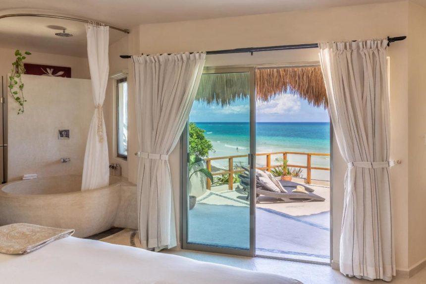 mezzanine beach club view from the window