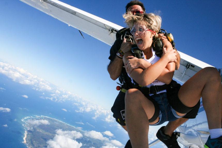 Girl skydiving