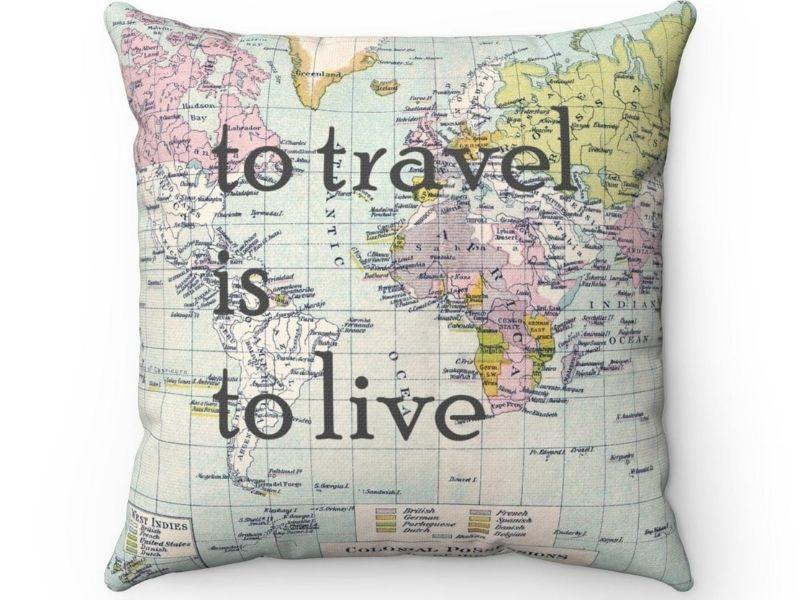 Travel Quote Square Pillow Cover  cover only world map | Etsy