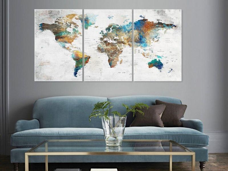 World Map Wall Art Large Canvas Adventure Push Pin Travel | Etsy