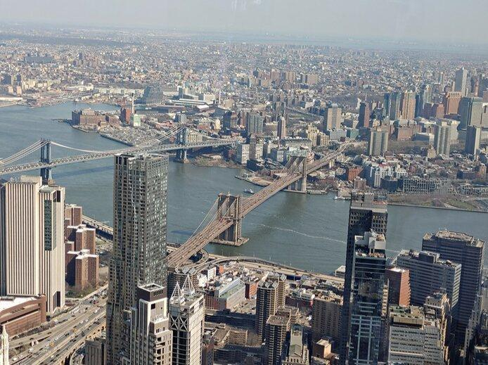 View of the Brooklyn Bridge from the One World Observatory deck