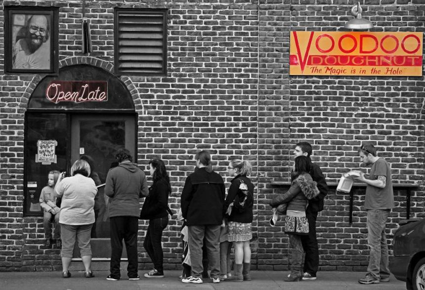 line in front of voodoo Donughts