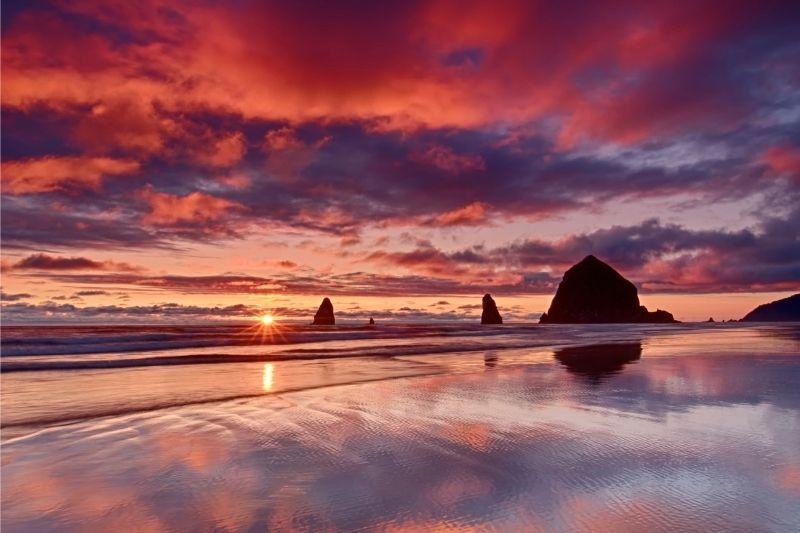 amazing sunset on Cannon beach Oregon