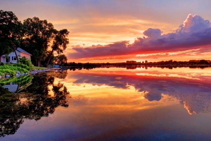 Lake monona at sunset