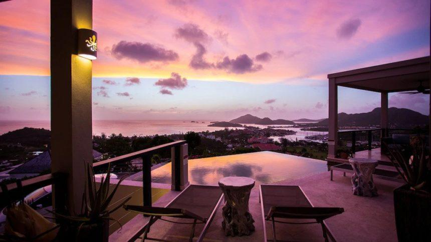 sea view at sunset of a luxury villa