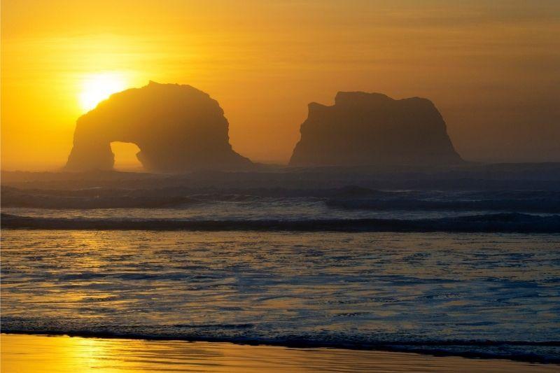 Rockaway beach Oregon coast sunset