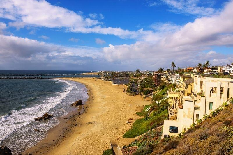 Corona del Mar beach lined with homes