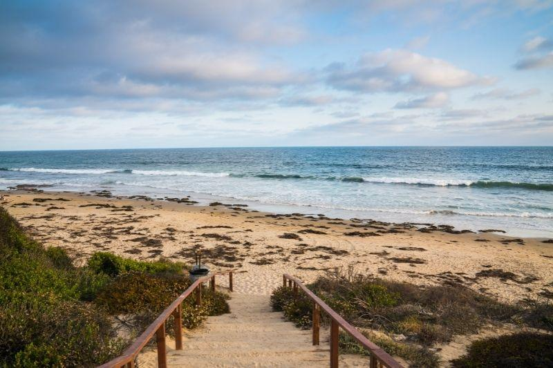Stairs going to the beach in Crystal Cove California