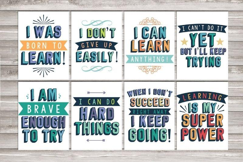 Set of 8 Growth mindset classroom printable posters | Etsy