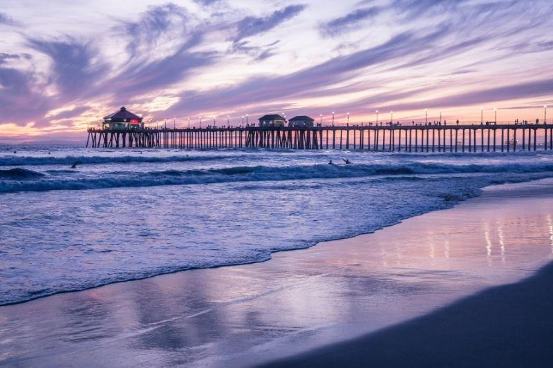 Huntington beach Orange County California at sunset