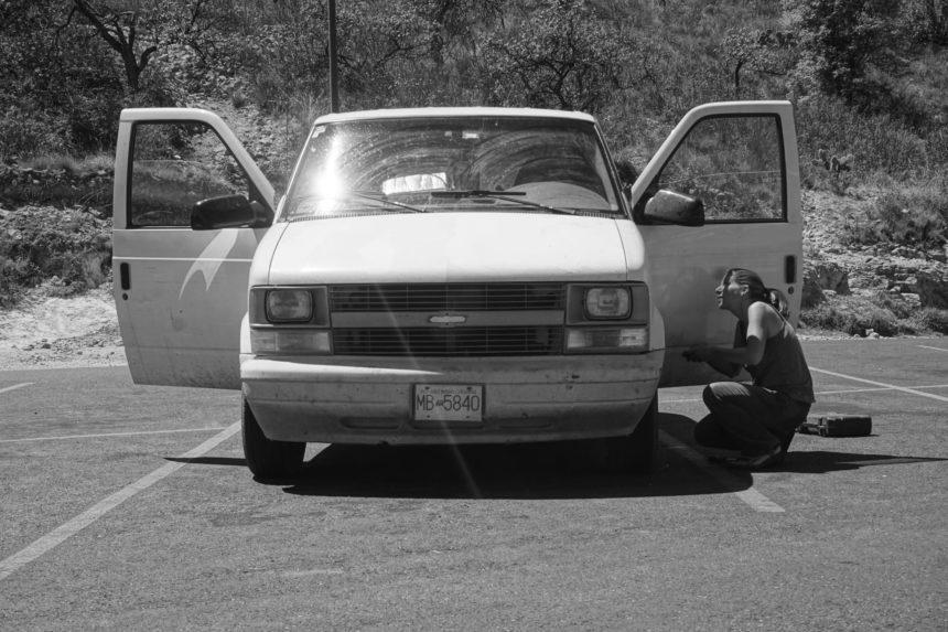 Tanya checking her van