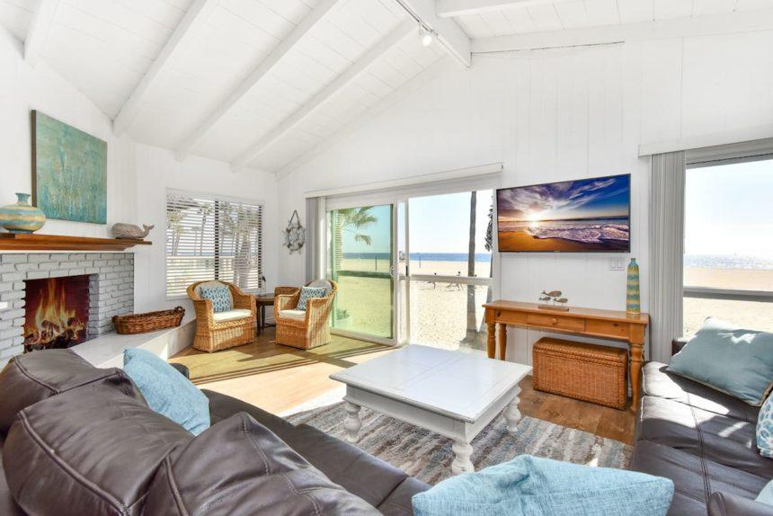 beach front house living room
