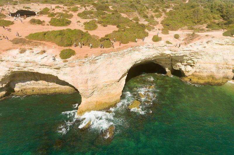 Benagil caves aerial view