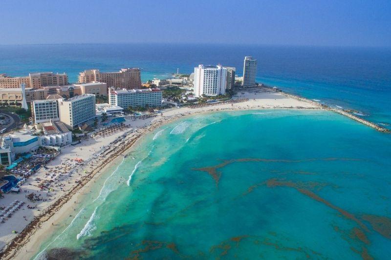 Cancun beach aerial view