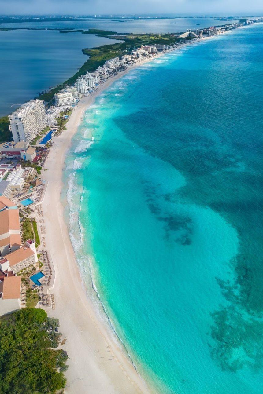 cancun hotel zone aerial view