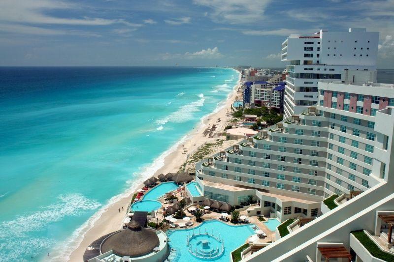 Cancun hotel and beach aerial view