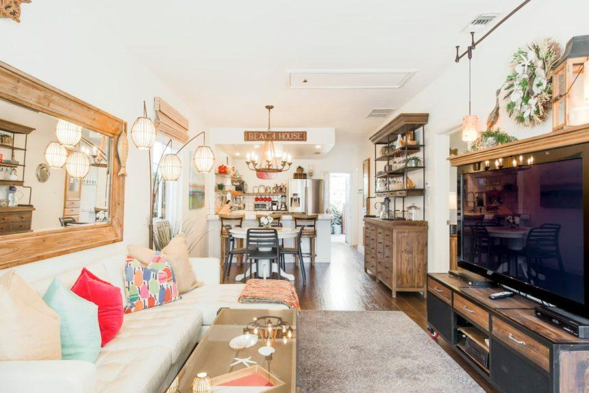 eclectic cottage kitchen and living room