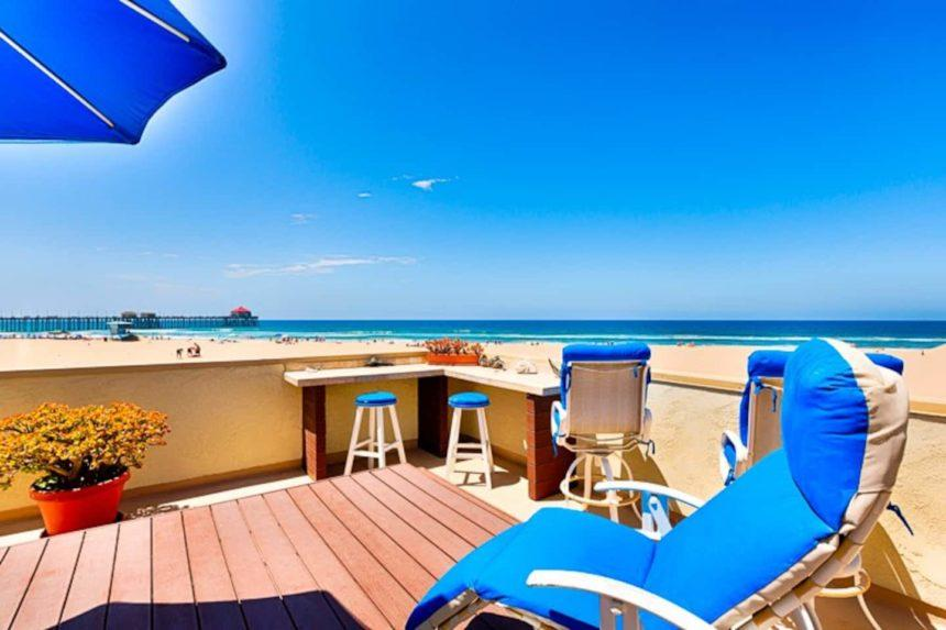 right on the beach patio