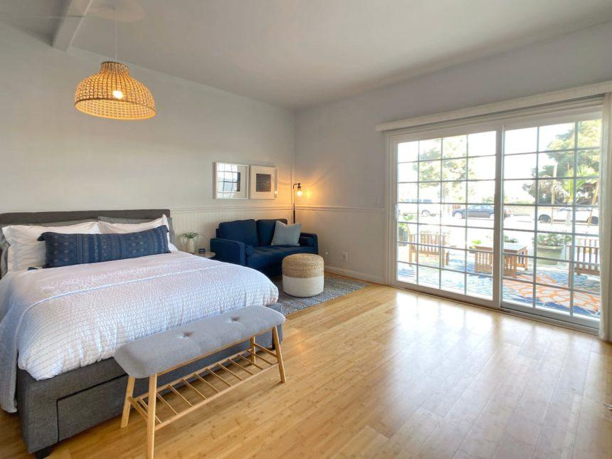 studio bed and access to patio