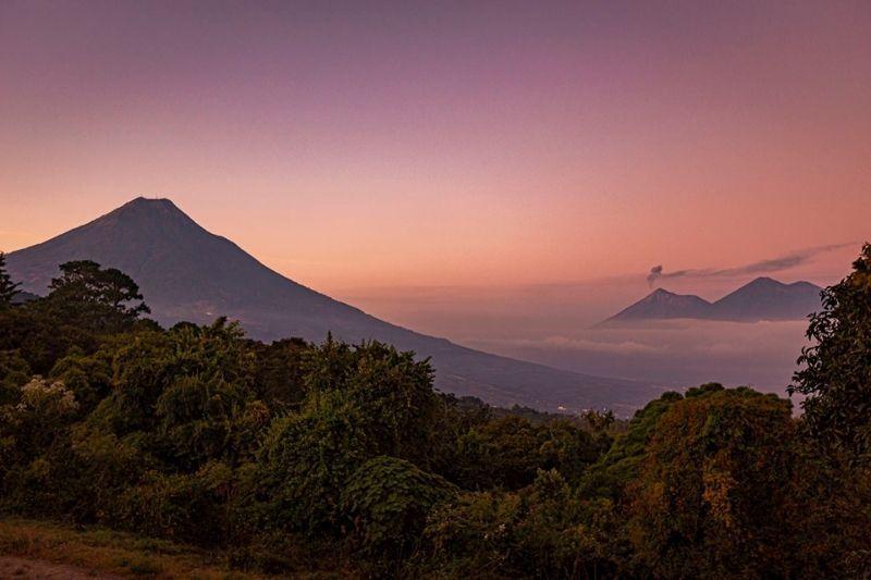 Agua acatenango and Fuego Volcanos