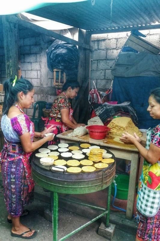 Antigua Market tortillas making