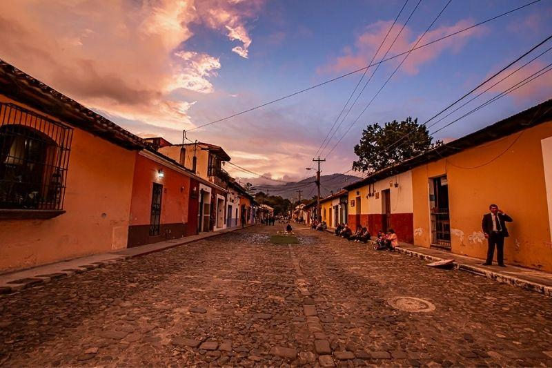 Antigua road at sunset - How to get from Guatemala City to Antigua