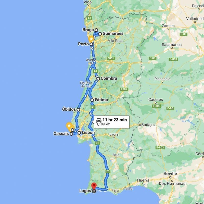 Portugal Itinerary map