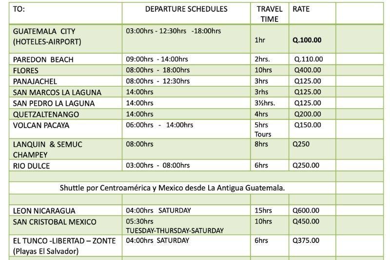 Shuttle schedules in Antigua
