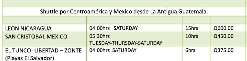 shuttles schedules central america